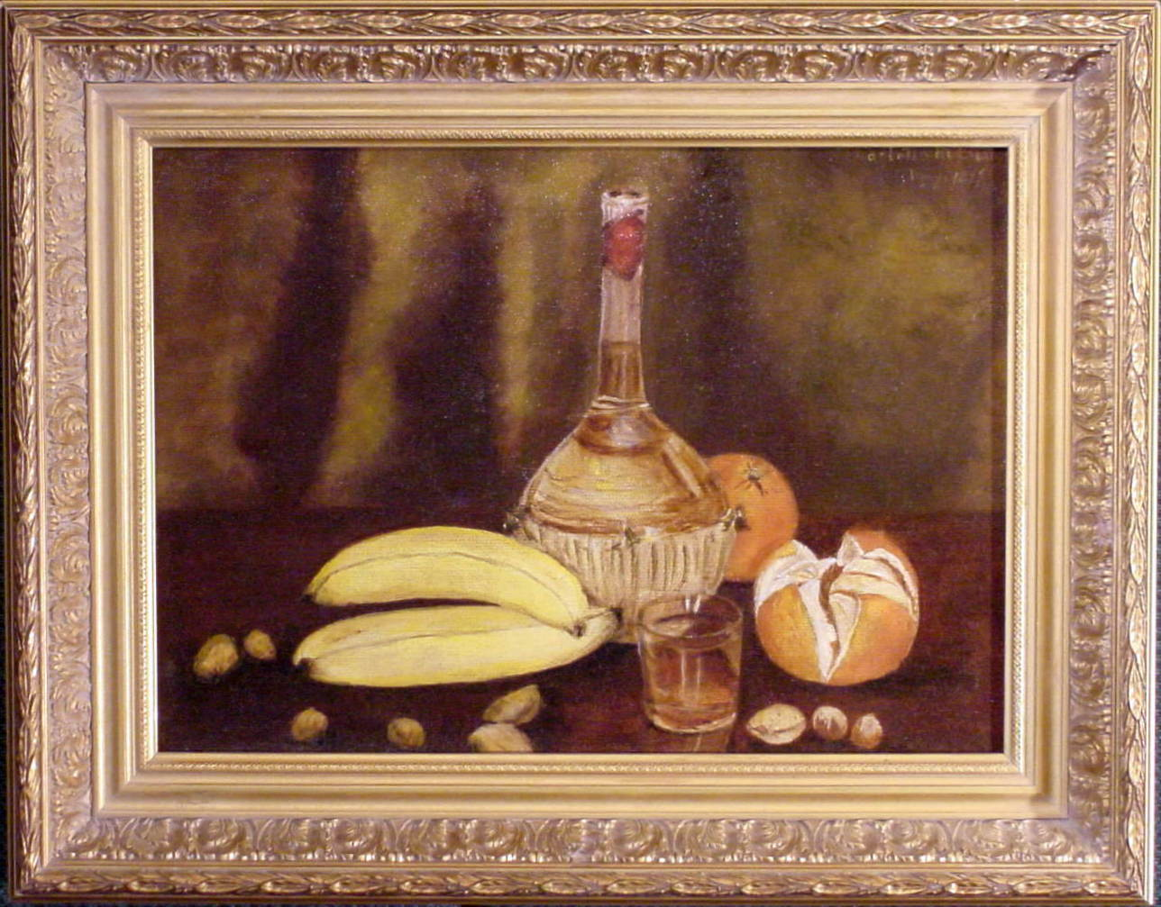 Still life with oranges and bananas